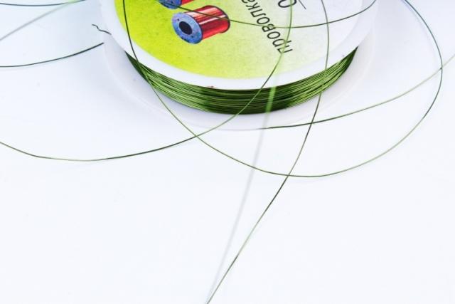 Проволока флористическая 0,4мм*50м Оливковая