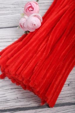 Прутик-скрутик пушистый 31см по 100 штук красный  WYCIORY A001