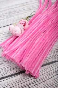 Прутик-скрутик пушистый 31см по 100 штук розовый  WYCIORY A004