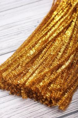 Прутик-скрутик пушистый 31см по 100 штук золото  WYCIORY B001