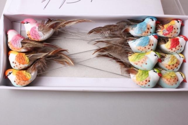 Птичка 10см на проволоке ( 12шт в упаковке) LY830AB 830
