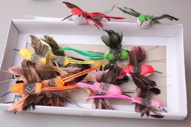 Птичка 10см на проволоке (12шт в упаковке) LYH08696C