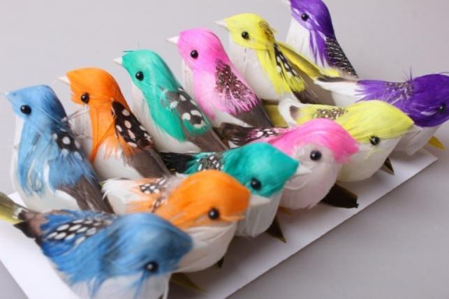 Птичка 7см на проволоке (12шт в упаковке) H15AP359 4864