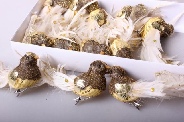 Птичка декоративная (12шт в уп) на клипсе золото 9196