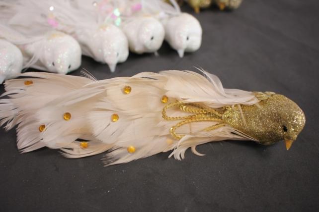 Птичка декоративная - Голубибелыелёнсбусинойнаприщ.(12штвуп)2031