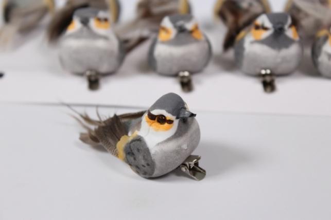 Птичка декоративная на прищепке (12шт) - Код 4687