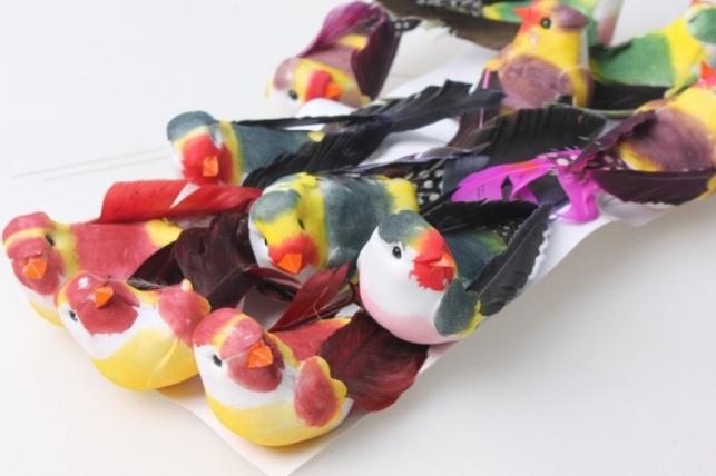 Птичка искусственная цветная (12 шт)