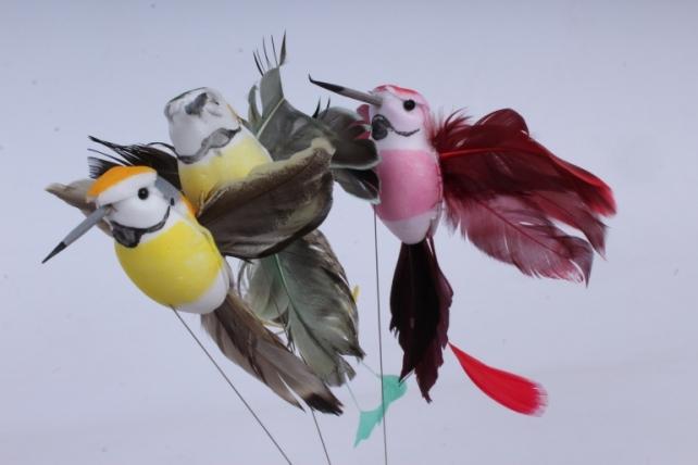 птичка колибри на прищепке (12 шт в уп) 14 см