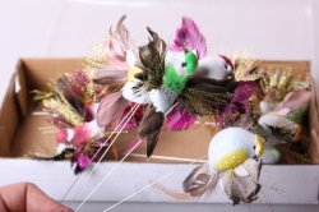 Птичка Колибри на проволоке с люрексом (12шт)
