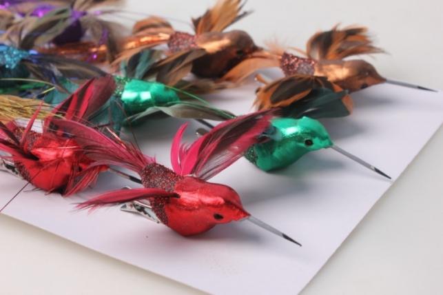 Птичка Коллибри парча с блестками 12см на прищепке (12шт в уп)