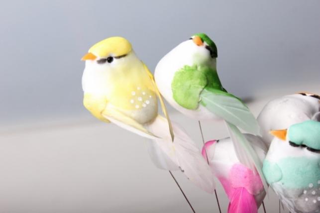 Птичка на стикере декоративная (12шт в уп)