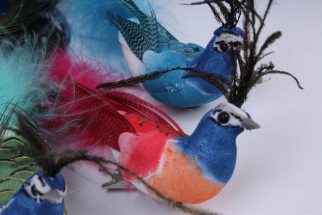 птичка павлин  на прищепке (12ш в уп)   w15599 18x2,5 h=3cm