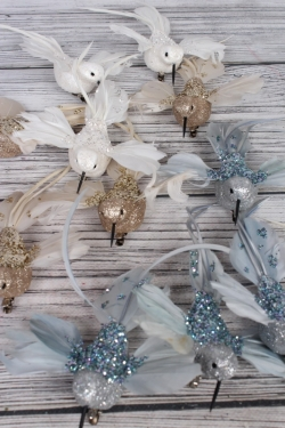 Птички на клипсе Колибри голубые по 12 шт с блестками  UIK0001A-5
