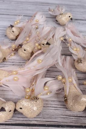 Птички на клипсе по 12 шт с золотыми блестками  UIJ0119BC-5