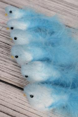 Птички 12см на клипсе С пушистым хвостом голубые по 6 шт  2810177