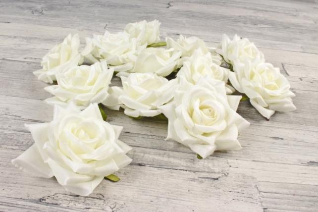 Роза 8 см (12 шт в уп) белая №7  ART148
