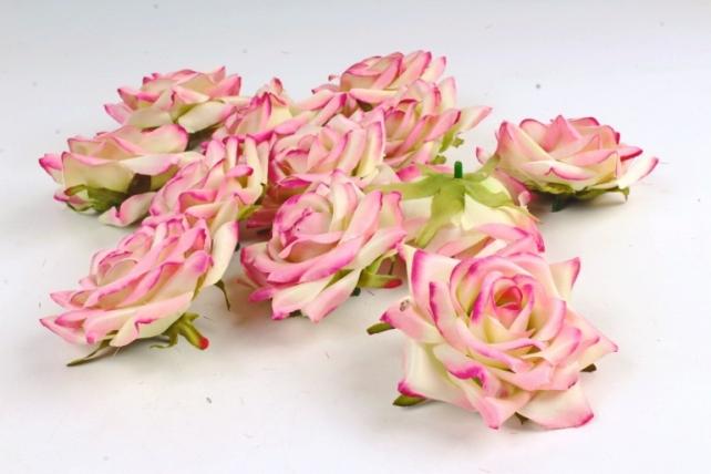 Роза 8 см (12 шт в уп) малиново-салатовая №11  ART148