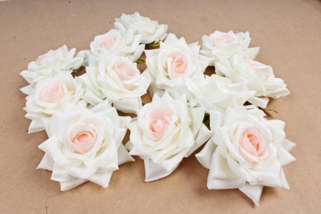 Роза 8 см (12 шт в уп) розово-кремовая №6 ART148