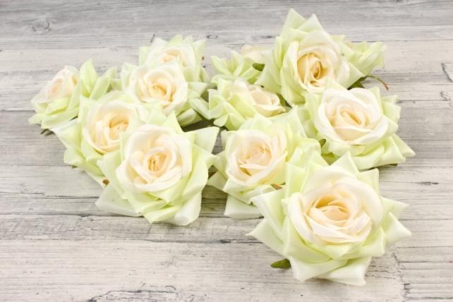 Роза 8 см (12 шт в уп) салатово-кремовые №5 ART148