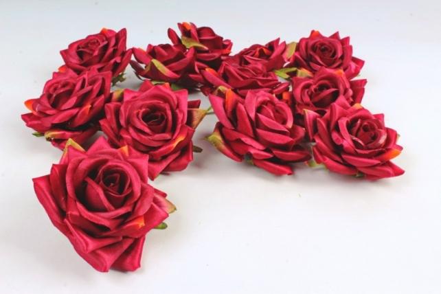 Роза 8 см (12 шт в уп) темно-красные №20  ART148