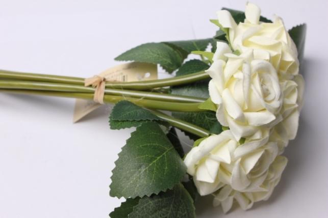 роза белая (6шт в букете) 20см 8634