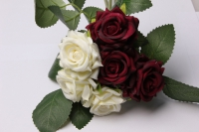 роза белая/бордовая  (6шт в букете)  20см 8696