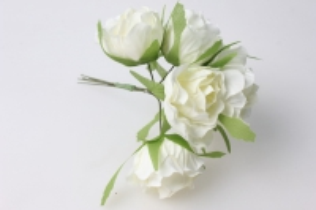роза белая бутаньерка (букет 6 цв) kww041 - растения для декора
