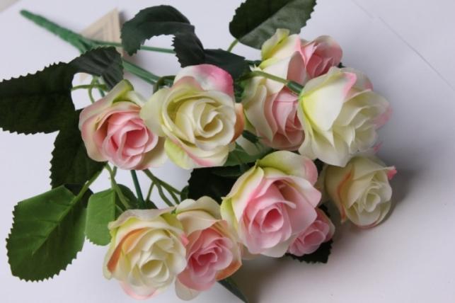 роза бело/розовая букет 17cм  0559