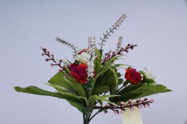 роза евробукет с гипсоф. бело-пурпурная 25см