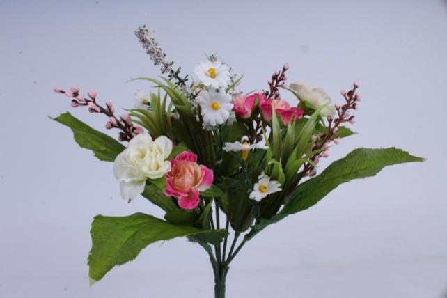 роза евробукет с гипсоф. бело-розовая 25см