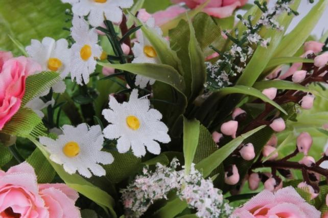 роза евробукет с гипсоф. розовая 25см