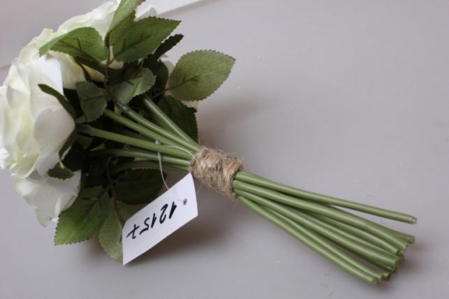 роза кремовая/зелёная 1/12шт 21см kwy 470 9451 - цветы для декора