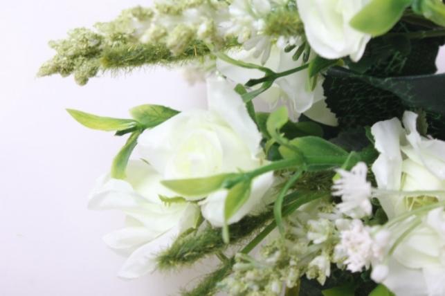 роза кудрявая букет белая 30см