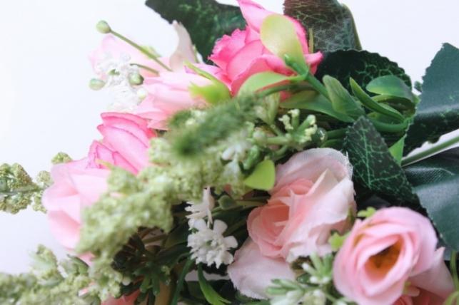 роза кудрявая букет розовый/ярко розовый  30см