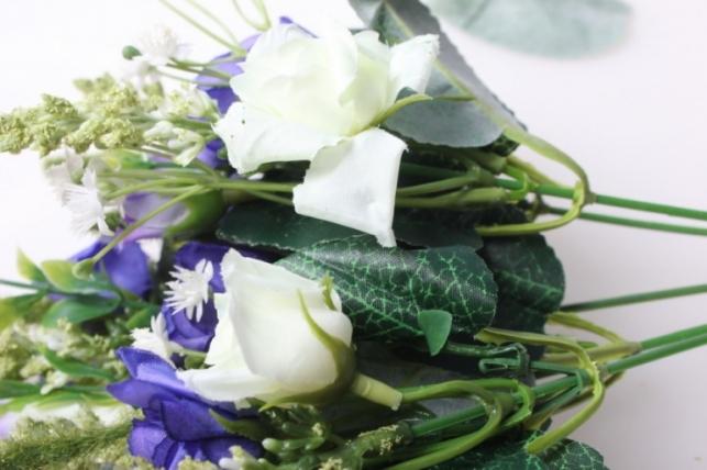 роза кудрявая букет сирень/белый 30см