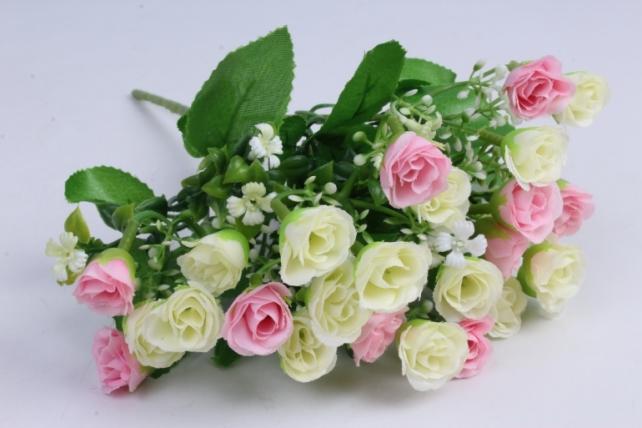 роза мелкая букет бело-розовая 35см