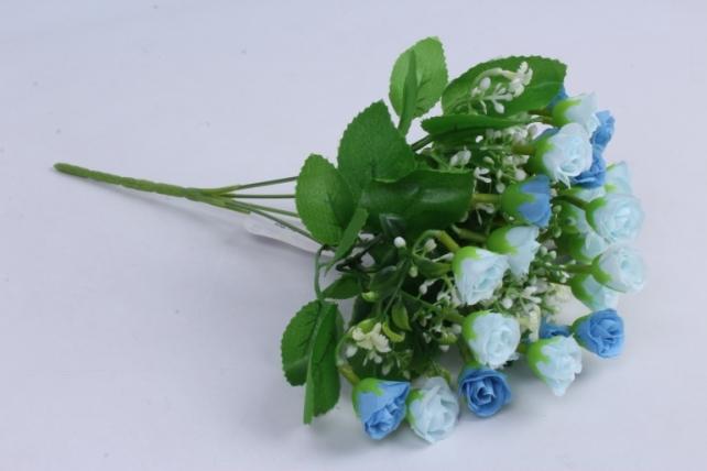 Роза мелкая букет голубая 35см