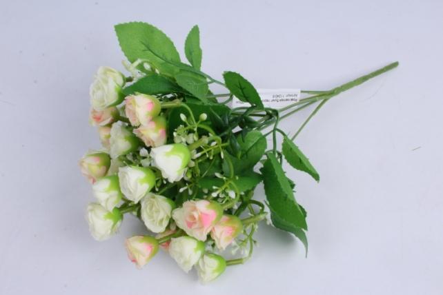 роза мелкая букет персик-шампань 35см