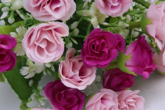 роза мелкая букет розово-малиновая 35см