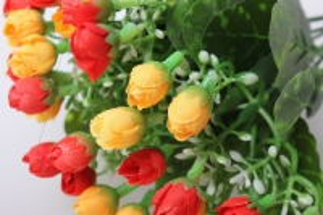 роза мини букет желто/оранж 30см