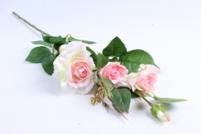 Роза на ветке 72 см бело-розовая SUN130
