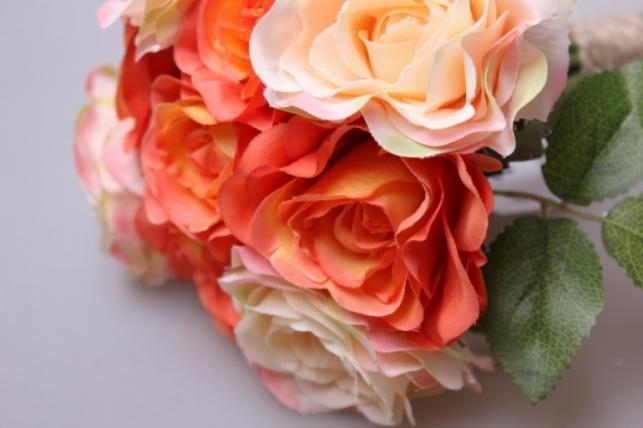 роза оранжевая/персиковая 1/12шт 21см kwy 472 9475