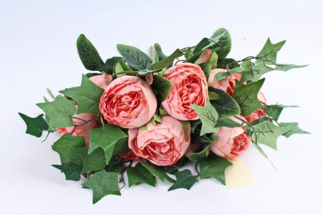"Роза ""помпон"" с плющём персиковая"