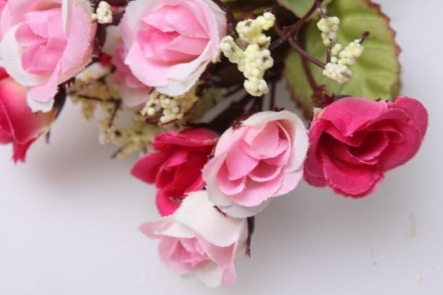 роза розовая с гипсофилой  букет ga95 5515 искусственные растения