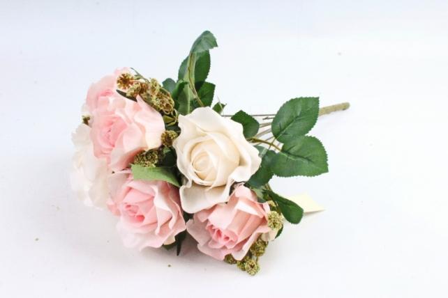 Роза с гофрированными лепестками бело-розовая