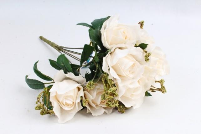 Роза с гофрированными лепестками кремовая