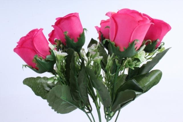 Роза с мелкими колокольчиками малиновая