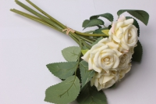 роза шампань (6шт в букете)  20см 8658