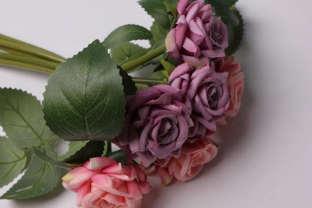 роза сиренево/розовая (6шт в букете)  20см 8702
