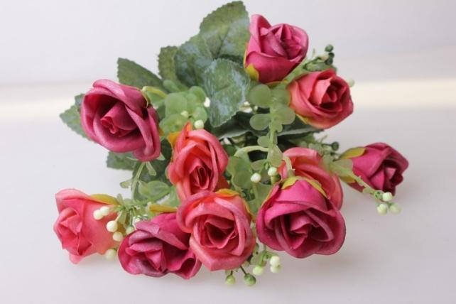 роза свадебная малиновая  букет - цветы искусственные